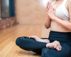 Yoga breathing lotus pose